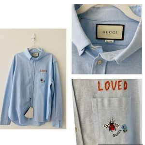 Gucci men size 44 embroidery shirt